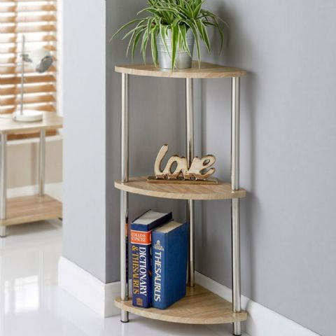 Low Oak Effect Curved Corner Shelves